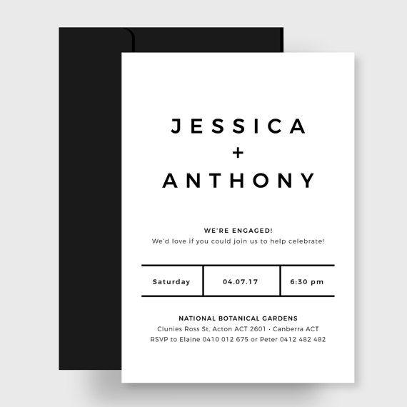 Engagement Party Invitation | Printable | Simple Black & White | Brooke Zotti Designs