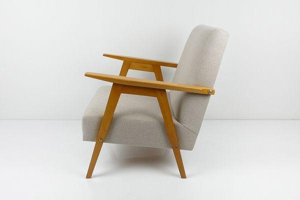 Vintage Armchair In Beige Herringbone Fabric   vinterior.co