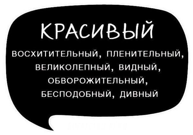 """Синонимы прилагательного """"красивый"""" - Synonyms of an adjective """"красивый"""" : красивый [krasìvij] - beautiful, handsome, good-looking, fine, pretty восхитительный [vaskhitìtel'nyj] пленительный [plinìtil'nyj] великолепный [vilikalèpnyj] видный [vìdnyj] обворожительный [abvarazhìtil'nyj] бесподобный [bispadòbnyj] дивный [dìvnyj]  Пример использования: Example of use: Какой дивный денёк сегодня! - What a wonderful day today! У него была пленительная улыбка. - He had a fas..."""