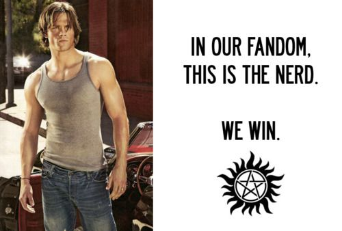 yup.: Nerd, Win Win, Sammi Supernatural, Jared Padalecki, Dean O'Gorman, Sam Winchester, Supernatural Addiction, Samwinchest, Fandoms