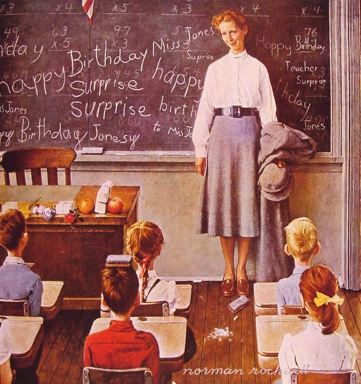 """Norman Rockwell reminds me of my childhood. This one is called """"Happy Birthday Surprise, Miss Jones."""""""