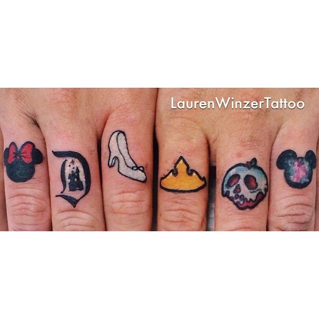 Tiny Disney finger tattoos by @Lauren Davison Davison Davison Winzer