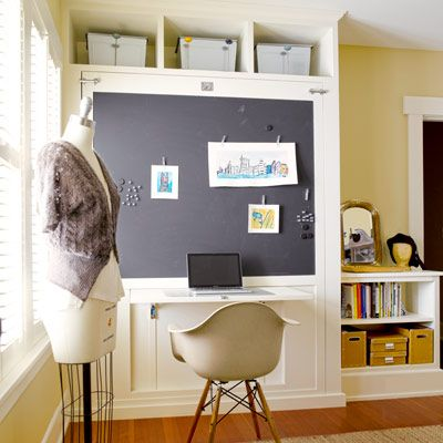 A novel Murphy bed-desk folds up  into a cabinet and a flip-up desk beneath a magnetic blackboard is at the ready.   Photo: Alex Hayden   thisoldhouse.com