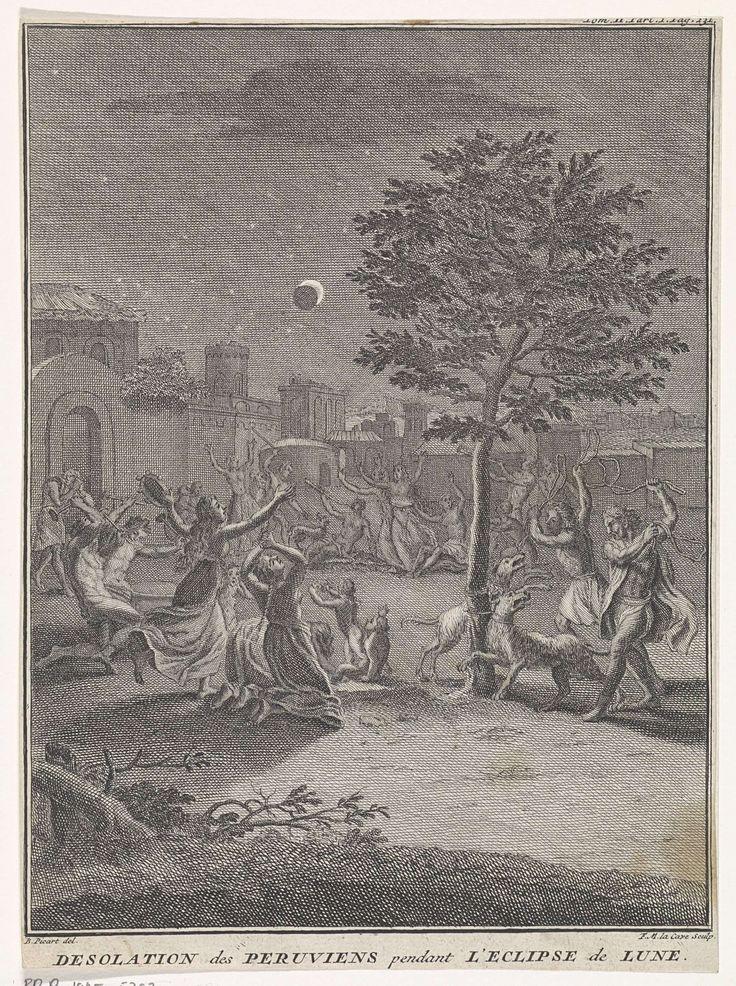 François Morellon La Cave | Peruanen in wanhoop gedurende een maansverduistering, François Morellon La Cave, Jean Frederic Bernard, 1737 | Op een binnenplaats heffen Peruanen in wanhoop hun handen ten hemel bij het zien van een maansverduistering. Een aantal mensen maken muziek op trompetten en tamboerijn. Aan een boom zijn twee honden vastgebonden, die worden geslagen door twee mannen met zwepen.