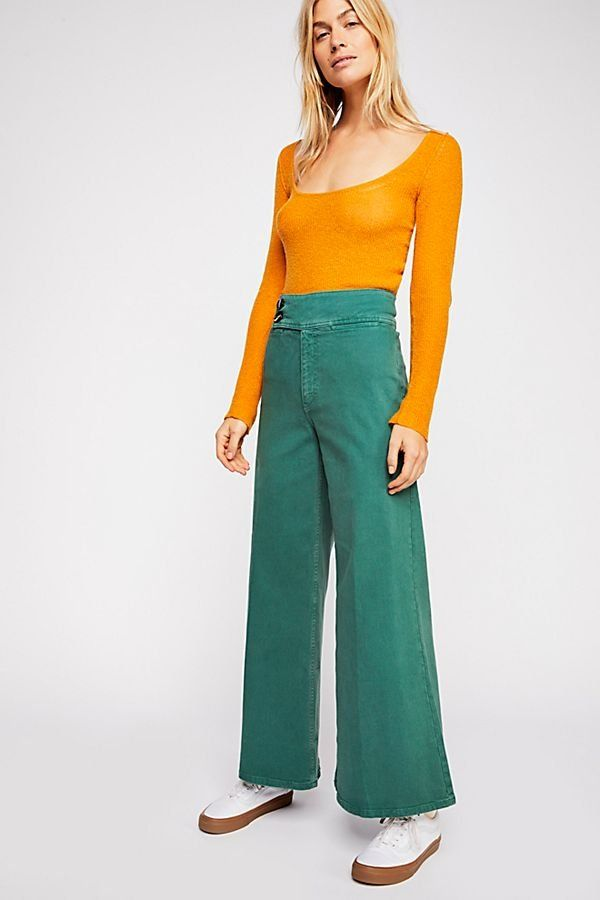 a840b404861 Youthquake Bell Bottom Jeans - Green High Rise Wide Leg Flare Jeans