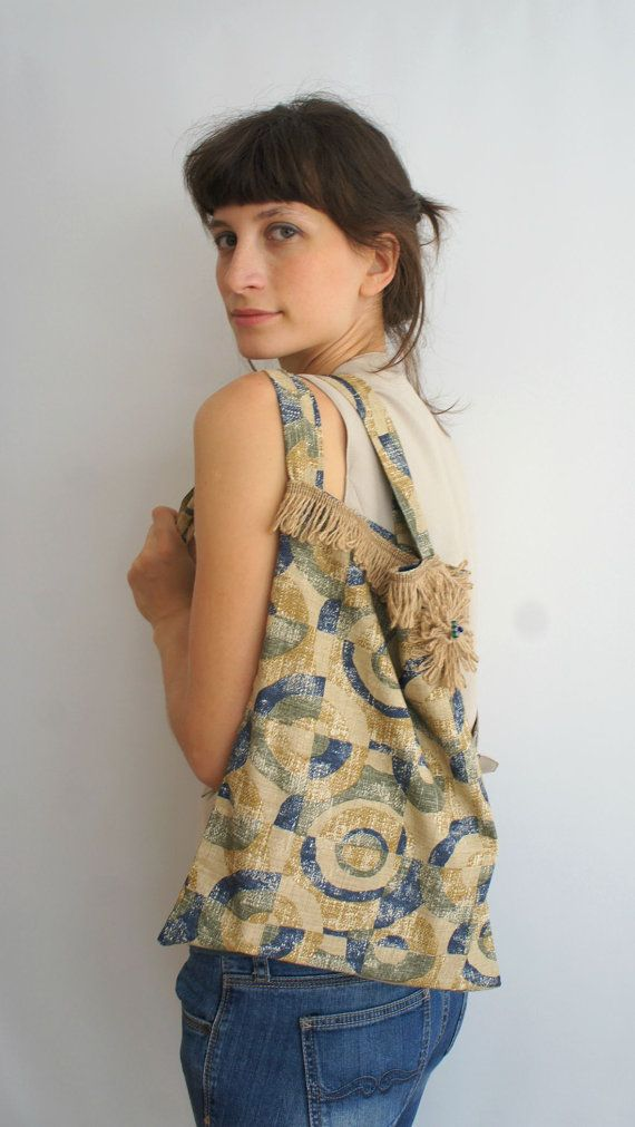 Boho Tote Bag // Back to School // Vintage Fabric by Karakoncolos, $15.00