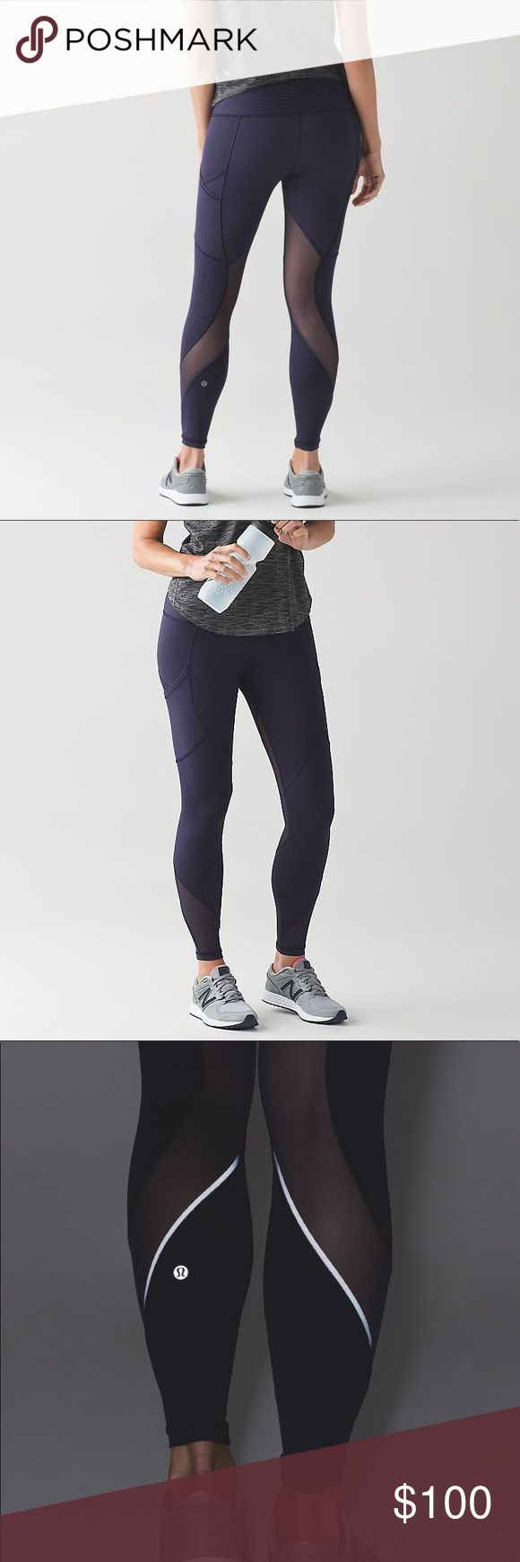 Lululemon Outrun Tight Size 6 Deep Indigo RARE Worn 1 time. Like new. These pants are soo cute and can be worn with a casual outfit or to go to the gym. No lowball offers. lululemon athletica Pants Leggings