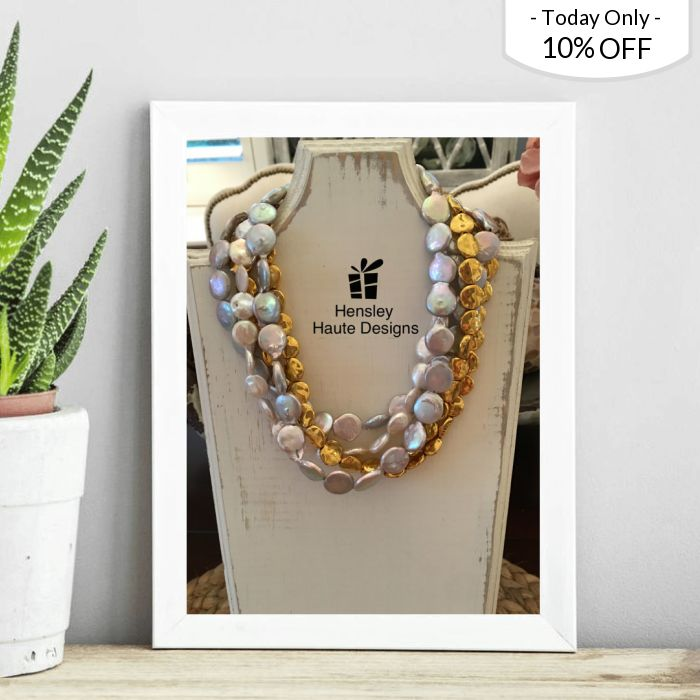 Christmas Sale! 10% OFF this item.  Follow us on Pinterest to be the first to see our exciting Daily Deals. Today's Product: Sale -  5 Strand Coin Gold, Silver and White Pearl Necklace Buy now: https://www.etsy.com/listing/507158539?utm_source=Pinterest&utm_medium=Orangetwig_Marketing&utm_campaign=10%25%20off   #jewelry #elegant #boutique #etsy #etsyshop #etsygifts #smallbiz