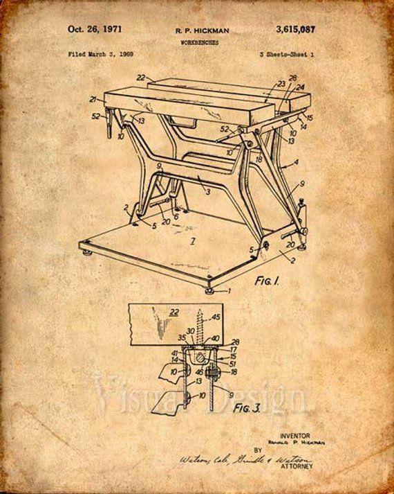 Workmate Workbench Patent Print – Patent Art Print – Patent Poster – Tools – Work Bench Retro – Wood