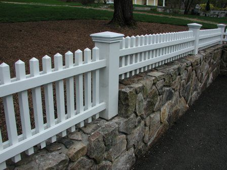 Wood And Stone Fence | Houzz  |Stone And Wood Fence