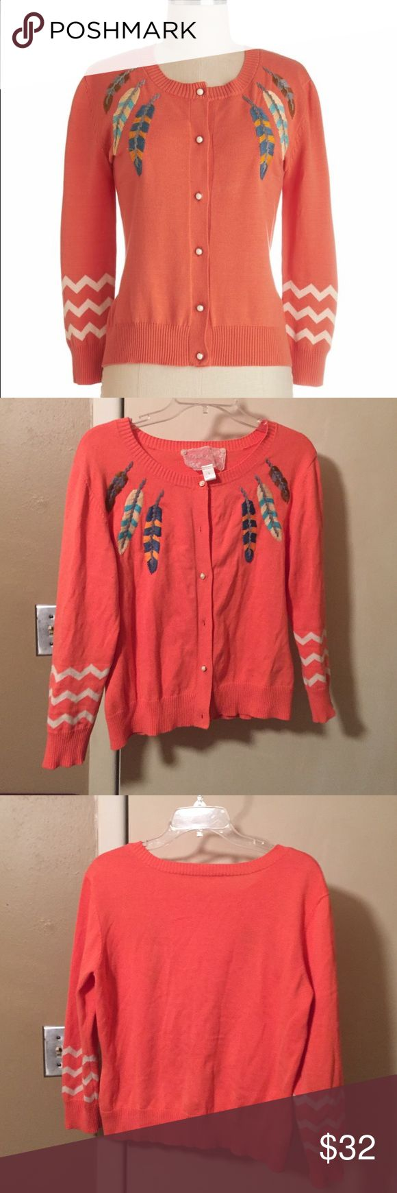 Trendy coral cardigan Trendy coral cardigan with embroderied feathers and pearl buttons. Triple off white chevron stripe at sleeve. Nick & Mo  Sweaters Cardigans