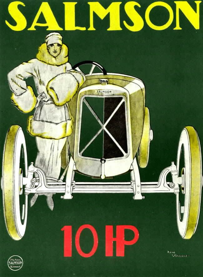 The woman and the car, complementary archetypes argue, luxury and beauty. One of the most famous posters of René Vincent Salmson for the new 10 HP, around 1922.