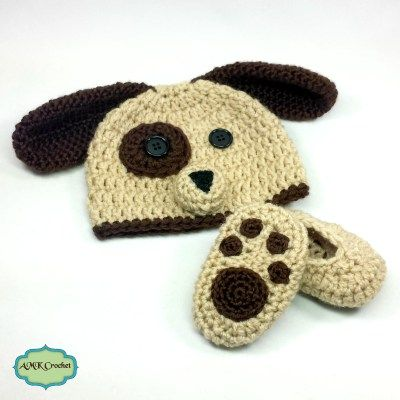 Newborn Baby Boy Puppy Hat And Paw Print Booties Crochet