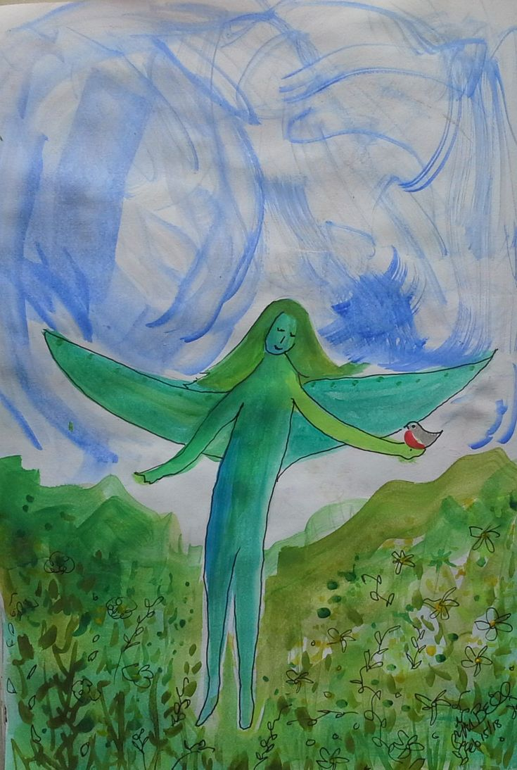 Nature Fairy with Robin - daily sketchbook Cindy M. Bell