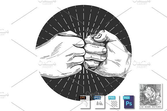 Dynamic Fist Bump Fist Bump Illustration Pencil Illustration