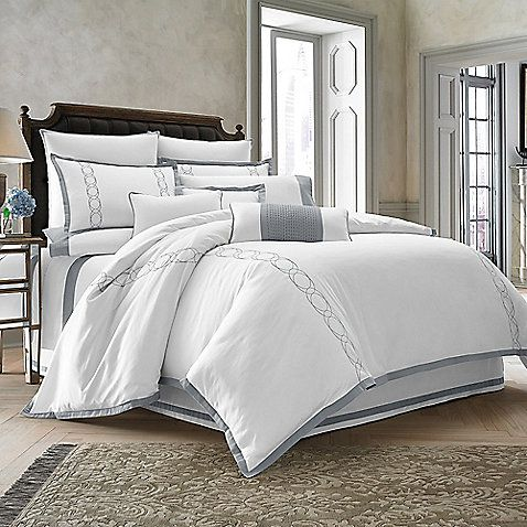 white bedroom furniture suite also blue blanket plus gray | Dress your bed in style with the refined Wamsutta ...