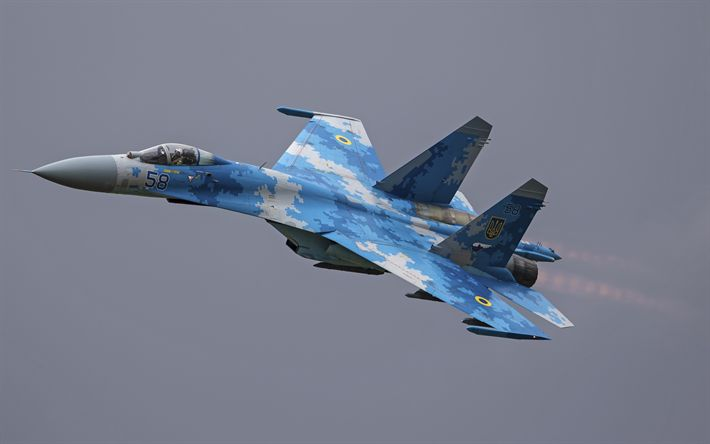 Download wallpapers Su-27 Flanker, Ukrainian fighter, Air Force of Ukraine, military aviation, Sukhoi Su-27