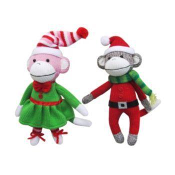 St. Nicholas Square 2-piece Monkey Christmas Ornament Set