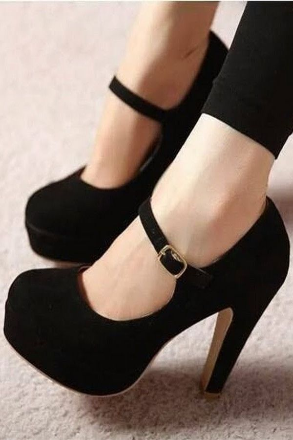 Fashion solid color round head high heels More