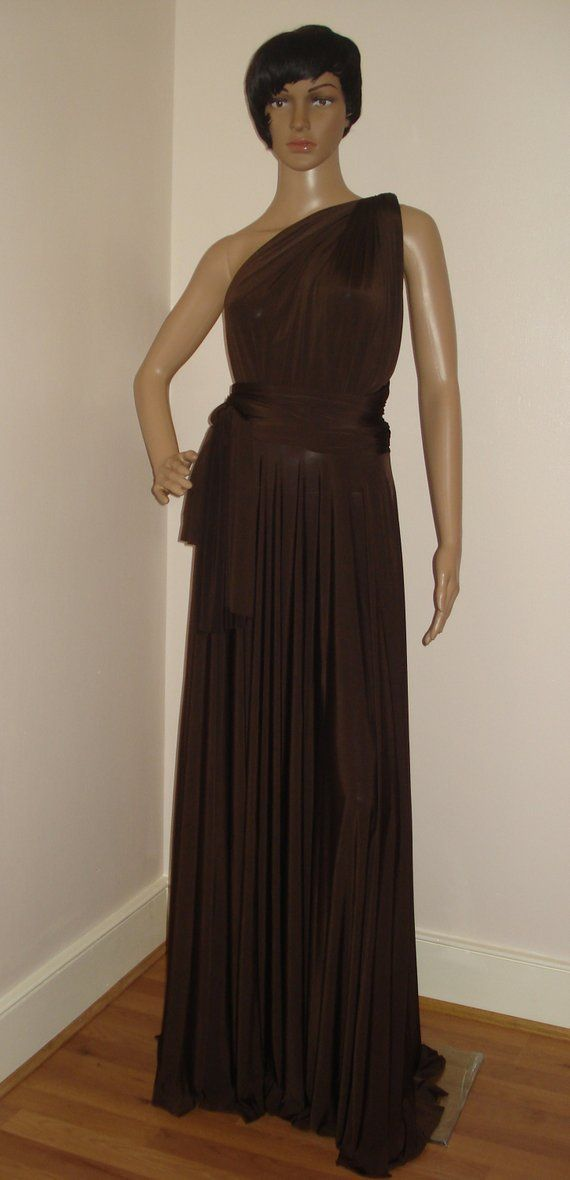 Chocolate Brown Convertible Infinity Bridesmaid Dress Floor Length Dress Formal Cocktail Multiway Dress Wrap Dress Evening Prom Party Dress With Images Multi Way Dress Floor Length Dress Formal Infinity Dress Bridesmaid