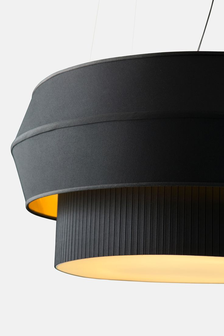 Delta IV Black Pendant Light, Black Fabric Shade With Opaque Gold Liner  Based On Traditional Box Pleating Techniques