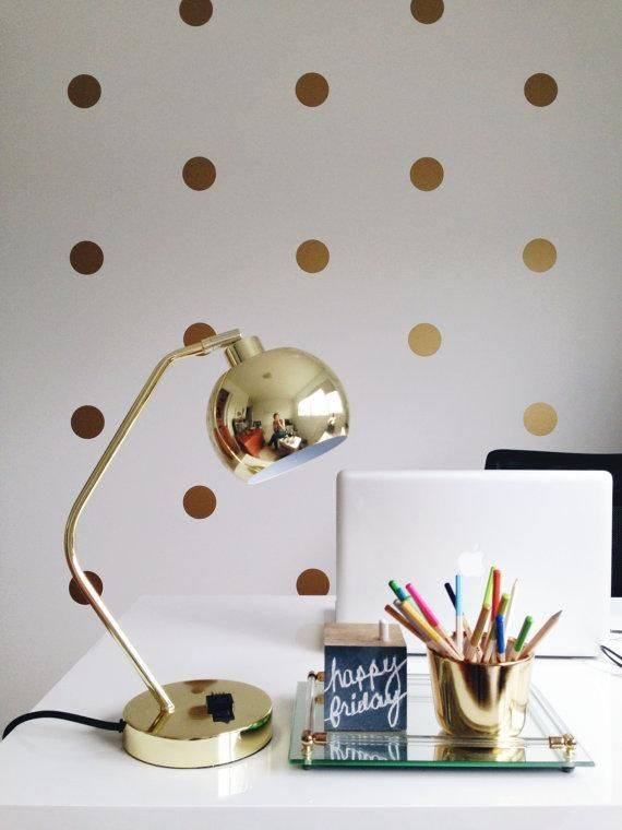 New year, new spaces, new @Etsy inspirations!: Vinyls Wall Stickers, Gold Polka Dots, Offices, Wall Decals, Polka Dots Wall, Polka Dot Walls, Decals Art, Gold Dots, Stickers Decals