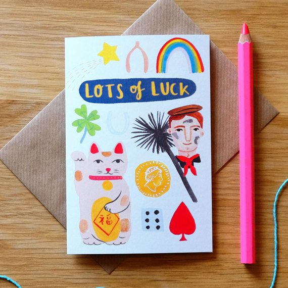 Lots of Luck illustrated card, with the luckiest things we could think up, for extra lucky vibes! By Stephanie Cole Design 2017 #lucky #goodluck #cat #stationery #card #illustrator