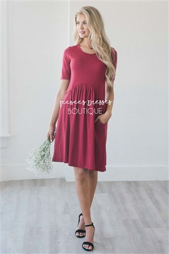 Cardinal Red Curved Seam Modest Dress Bridesmaids Church Dresses For Trendy