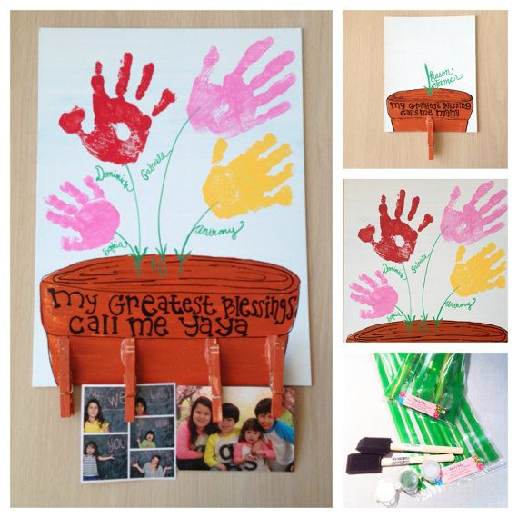 Flower Handprints DIY Craft Kit: Hand Painted Canvas 11x14 on Etsy, $32.80
