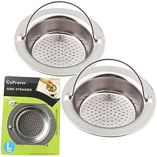 "GoProver 2PCS Kitchen Sink Drain Strainer Heavy Duty 304 Stainless Steel, Large Wide Rim 4.3"" Diameter Durable Strainer Basket #GoProver #Kitchen #Sink #Drain #Strainer #Heavy #Duty #Stainless #Steel, #Large #Wide #Diameter #Durable #Basket"