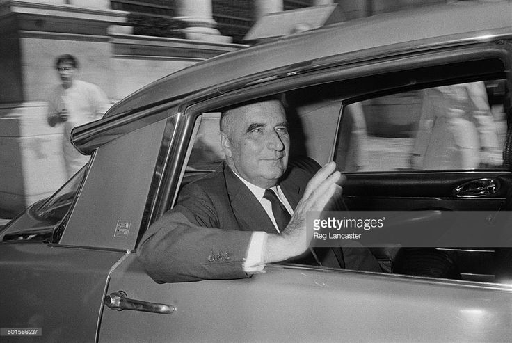 Former Prime Minister of France, Georges Pompidou (1911 - 1974) waving from the…