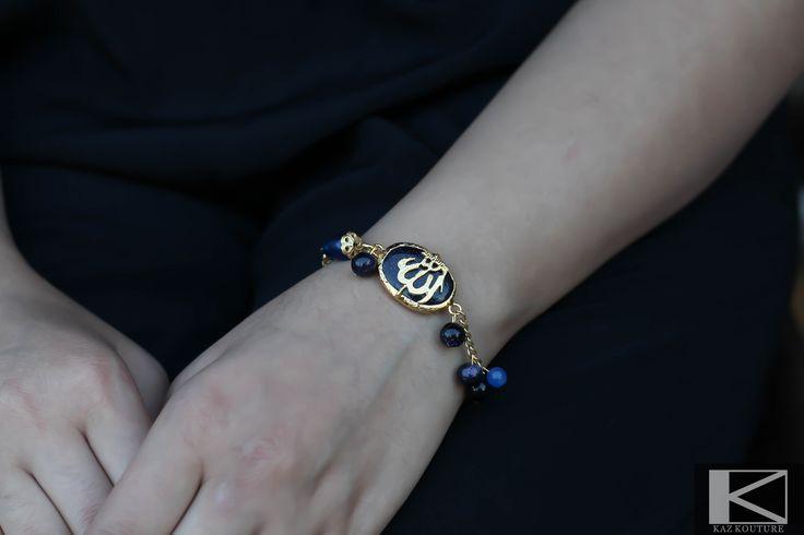 KAZ KOUTURE: Blue Oval Gemstone Beaded Allah Bracelet  #kazkouture #fashion #bracelet #goldplated #jewelry #accessories #armcandy #princess #fashionista #turkish #arabiccalligraphy #muslimfashion #abaya #hijabi #hijab #arabfashion #scarf #muslim