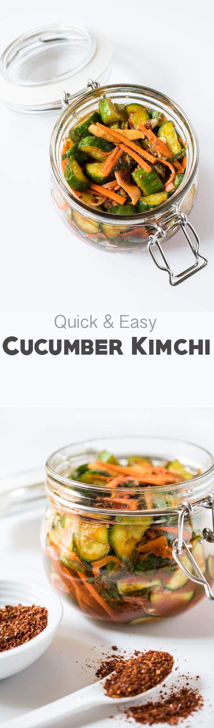 Quick Cucumber Kimchi - great on it's own or on a hamburger or hotdog!