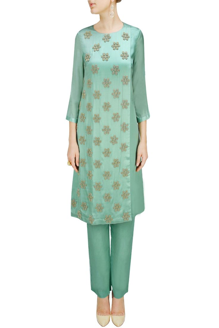 Sea green floral embroidered kurta set by ILK.Shop now at: www.perniaspopups... #perniaspopupshop #amazing #beautiful #clothes #style #designer #fashion #stunning #trend #new #ilk