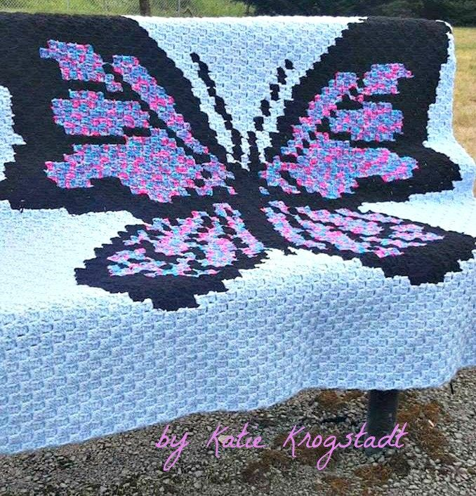 Butterfly 3 Color Afghan C2C Graph with Written Word Chart