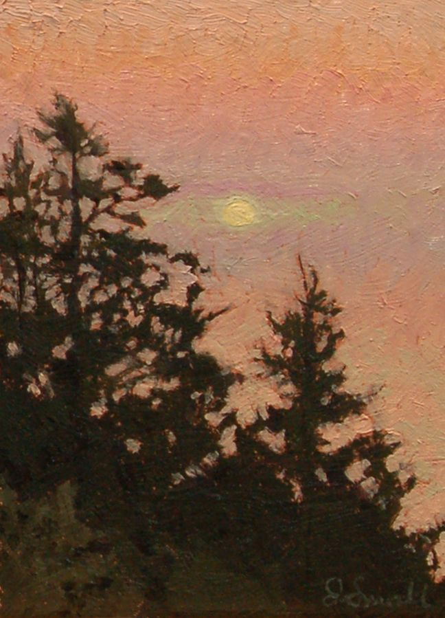"""Monhegan Sunrise,"" Jonathan Small, 2012, Oil on panel, 7 x 5"", private collection."