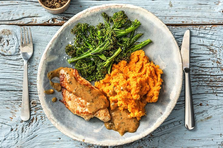 Pan-Fried Turkey Breast with Sweet Potato Mash and Holiday Gravy