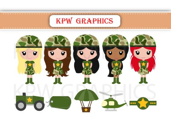 Military Army Girls in Green Camouflage Clipart PNG by KPWgraphics
