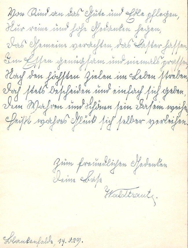 Schrift aus dem Jahr 1929