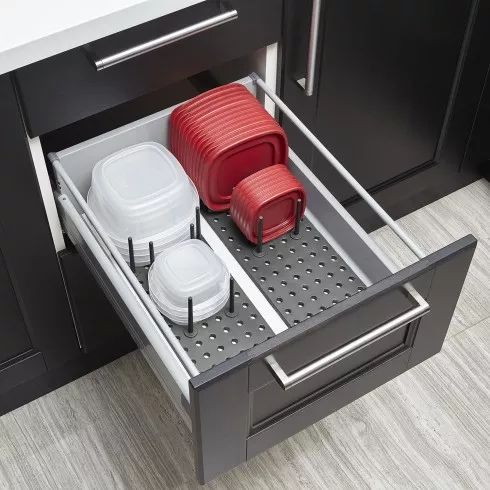 Customize your drawer space with Peggy Drawer Organizer. Its a peg system that works for all types of drawers. The repositional pegs lock into the pegboard to organize cookware and serve ware of all shapes and sizes. When your cupboard needs change, the system changes with it - simply reconfigure the pegs to work for your drawers. Comes as a set of 2 boards.