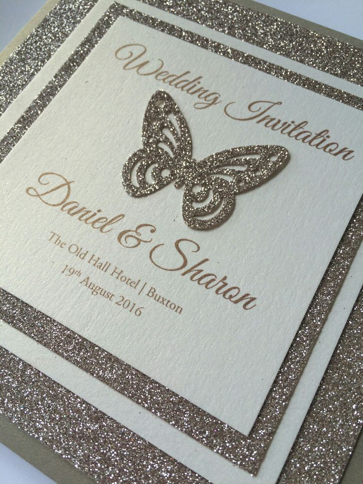 Super sparkly gold butterfly themed wedding invitations