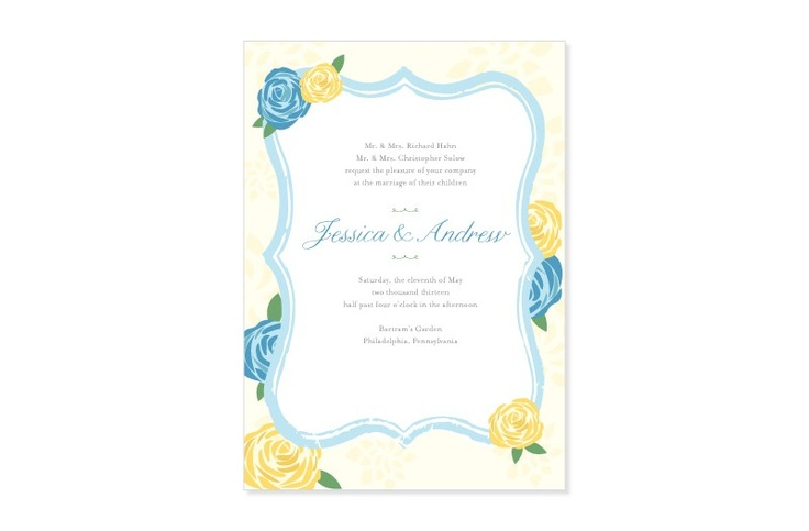 Modern Springtime Floral wedding invitations from MarryMoment