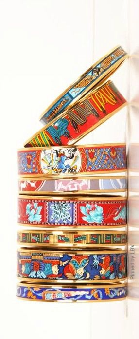 Hermes Bangles  | LBV ♥✤ | BeStayBeautiful They're so playful and bright they remind me of Hipanema layers :)