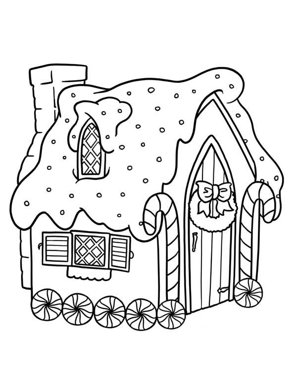 House Gingerbread White With Wheel Coloring Pages