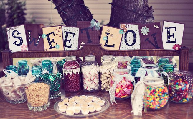 sweets table instead of wedding favors: Candy Buffet, Wedding Desserts Tables, Sweet Tables, Candy Bar, Sweet Love, Candy Tables, Wedding Candy Table, Desert Tables, Diy Wedding