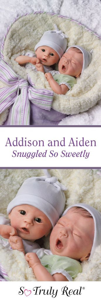 Hold twice the cuteness with these sweet lifelike baby dolls, Addison and Aiden! These poseable twins are snuggled in custom lavender baby bunting with warm fleece lining, so they're a double bundle of joy. Order these exclusive lifelike twin dolls by Master Doll Artist Donna Lee today!