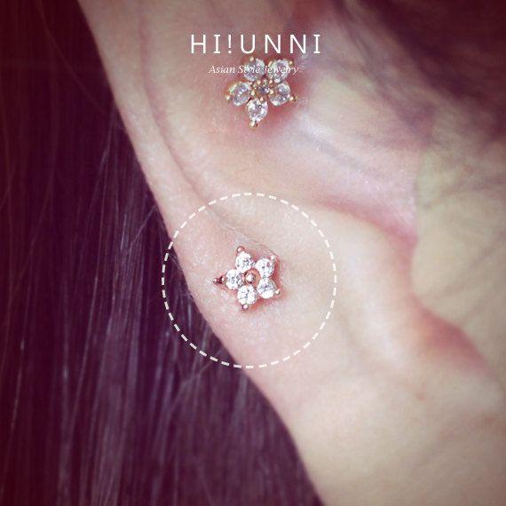 16g mini fleur cartilage boucle d oreille boucles d oreilles cz helix conque tragus percer les. Black Bedroom Furniture Sets. Home Design Ideas