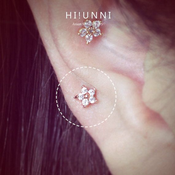 16g Mini fleur cartilage boucle d'oreille, boucles d'oreilles CZ, helix conque tragus percer les oreilles bijoux, vendu comme 1 pièce, labret bar (en option)