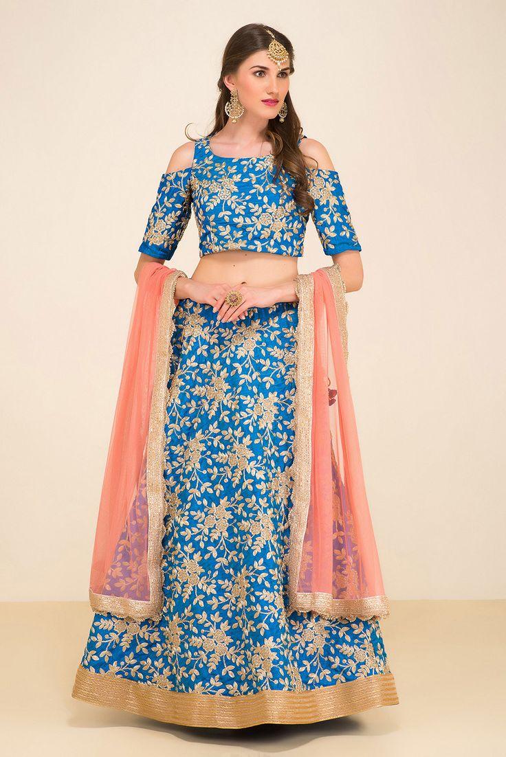 STUDIO 41 JAIPUR cold shoulder blue lehenga #flyrobe#wedding#weddingoutfit#designerdress#designeroutfit#lehengacholi
