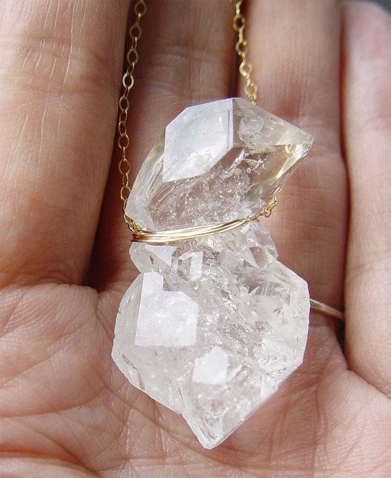 Double herkimer diamond necklace by friedaosphie www friedasophie